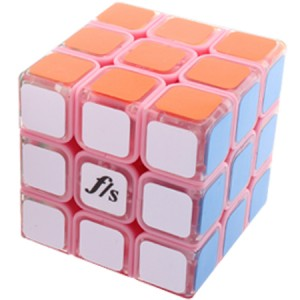 Fangshi (Funs) Shuang Ren 3x3x3 54.6mm Speed Cube Puzzle, Pink Body With Traparent Cap