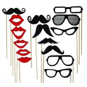 Colorful Props On A Stick Mustache Photo Booth Party Fun Wedding Christmas Birthday Favor (15PCS Colorful Props)
