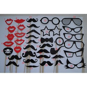 38 Pieces/set Wedding Welcome Party Novelty Funny Mustache Lips Hat Crown Photographing Props by Kitty-Party